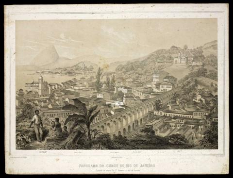 Litografia de Iluchar Desmons (1803-post 1858): Panorama da cidade do Rio de Janeiro. Tomado do morro de Sto Antônio a vôo de Passaro, 1854. Peça exposta no Centro Cultural dos Correios de 14 de maio a 12 de julho de 2015.