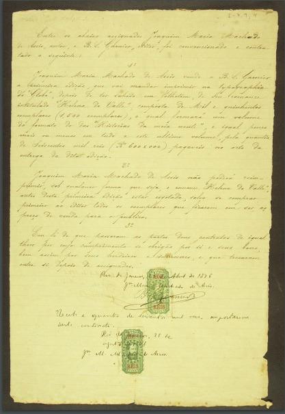"""Contrato de Machado de Assis para a edição de """"Helena do Vale""""."""