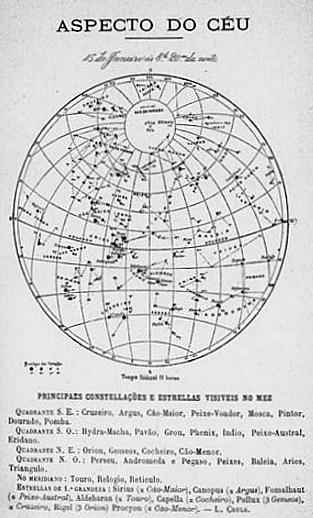 15 de janeiro ás 8h20min da noite. Tempo sideral IV horas Principaes constellações e estrellas visiveis no mez.