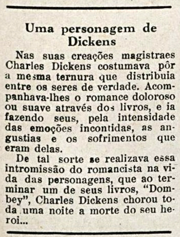Relato do afeto de Dickens por suas personagens. Disponível em: http://memoria.bn.br/docreader/083712/66684