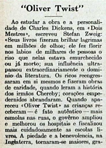 Comentários sobre 'Oliver Twist', uma das histórias mais conhecidas do autor. Disponível em: http://memoria.bn.br/docreader/083712/81078